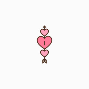 Three Hearts and Arrow Flat Icon