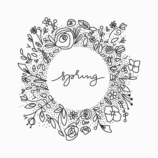 hand drawn vector spring wreath