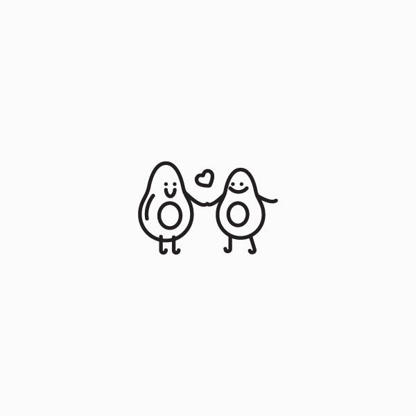 icon of two avocados holding hands in love