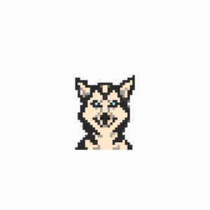 Pixelated dog husky