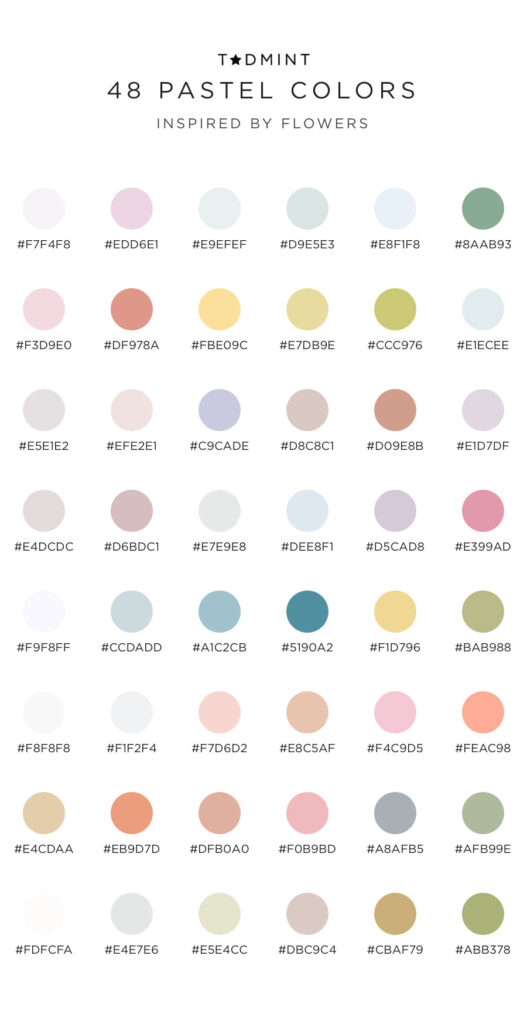 48 pastel colors inspired by flowers
