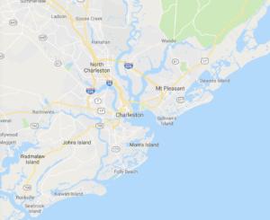 Map of area surrounding mt pleasant sc