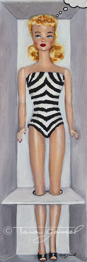"""This is an original painting on canvas. This art contains, black and white, stripes, Barbie, Barbie Doll, vintage Barbie, vintage toy, blonde, swimwear, one piece swim suit, thought bubble, Barbie in original packaging. This original oil painting is 10"""" wide by 30"""" tall. Perfect for your home or business decor."""