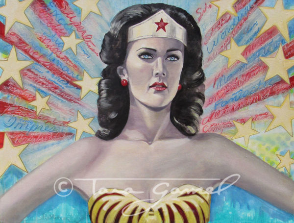 """This art contains positive words, positive message, Linda Carter, Wonder Woman, stars, red white & blue, vintage style, red lipstick, paint drips, stencils, spray paint. Original oil on canvas. This piece is 48"""" wide by 36"""" tall. Perfect as a statement piece in your home or office."""