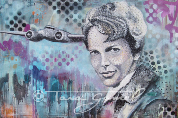 """This art is an original oil on canvas. Contains vintage aircraft, halftone dots, paint drips, blue, light blue, pink, magenta, black, Amelia Earhart, bomber jacket, orange. This original oil painting is 36"""" wide by 24"""" tall. Perfect for your home our office decor."""