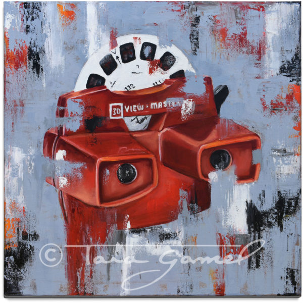 A Different View 20x20 canvas print. Classic View Master toy recreated in an original pop art style.