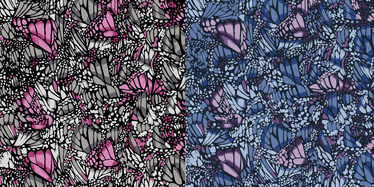 Miami butterfly textile design illustration