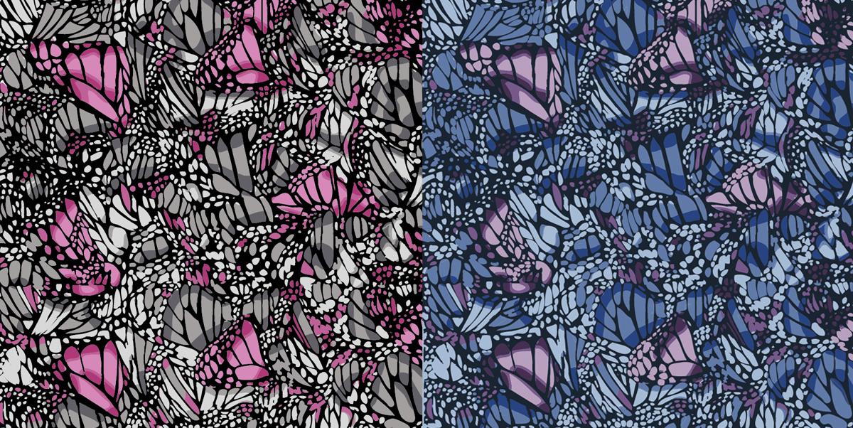 Miami butterfly textile design illustration