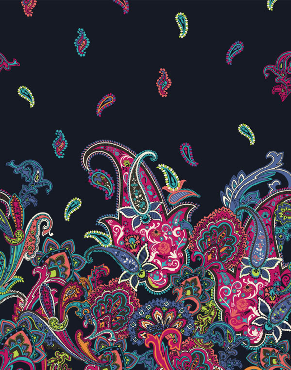 Miami floral textile design illustration