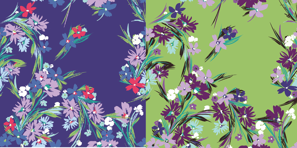 Miami floral design textile illustration