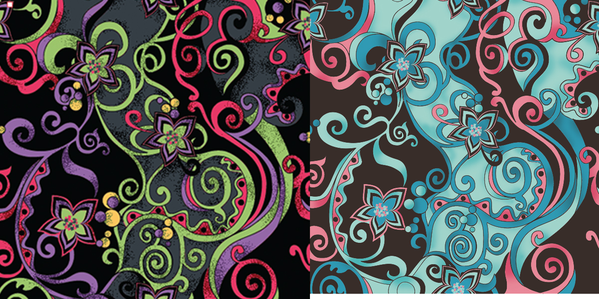 Miami floral textile design illustration