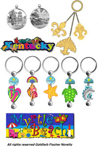 Miami souvenirs magnets, keychains package design