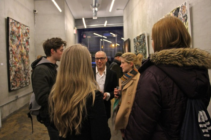 Bradley Hart mingles with guests for his reception at gallery nine5