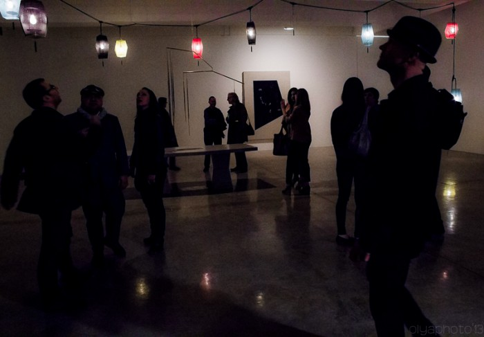 Commiserting in the dark at Tanya Bonakdar Gallery (photo by Olya Turcihin)