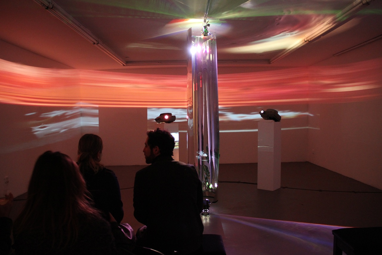 Light Installation and projections by Garrett Pruter at basement space of Charles Bank Gallery