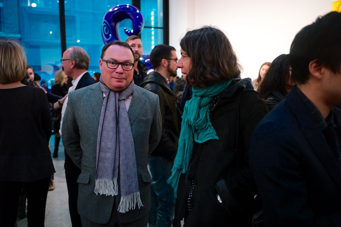 Paul Kasmin (in scarf & wool jacket) in the thick i=of the action during the opening reception