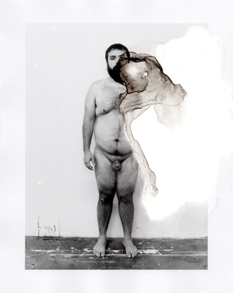 Crucifixion of Line Pt. 2, 8, bleach and ink on gelatin silver print, 6 x 4 1/2 inches, 2012