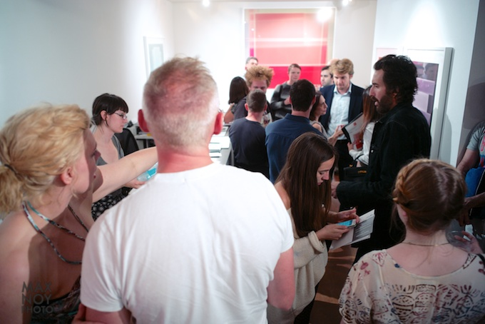 The packed house at Jim Kempner Fine Art
