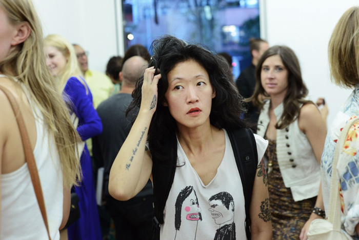 Gallerist Lillan Munch at the opening