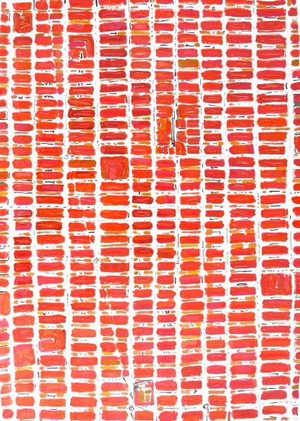 Barbara Macfarlane, Midtown Red, 2013, Oil and Ink on Handmade Paper