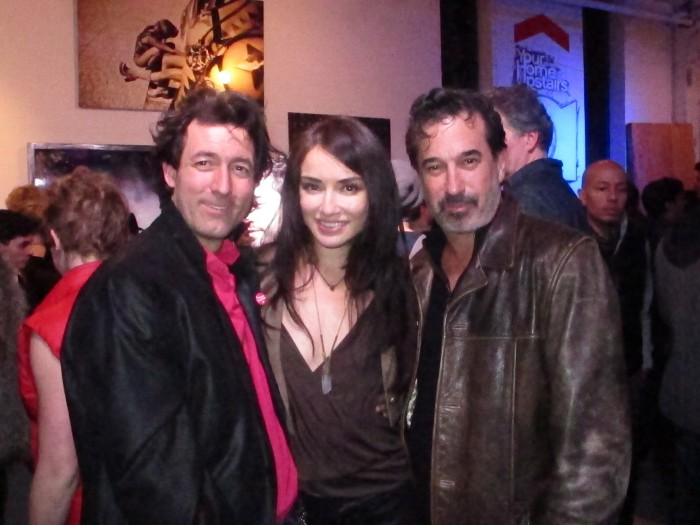 (L) Artist Artist Yarrow Mazzetti with some friends at the opening of Imagine