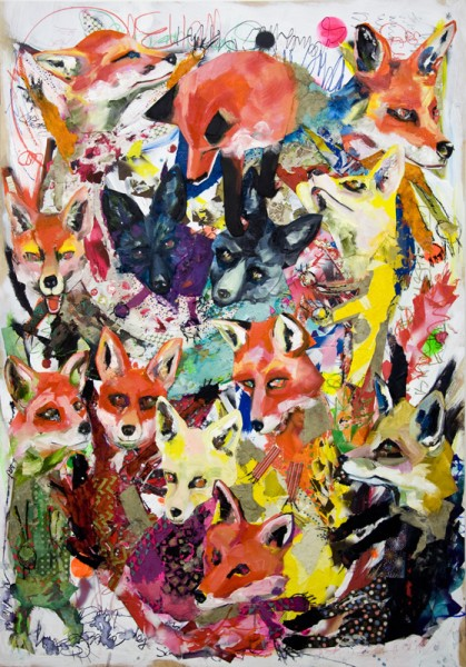 """""""13 Kitsune"""" Mixed Media Collage and Oil on Panel Board (46"""" x 66"""")"""
