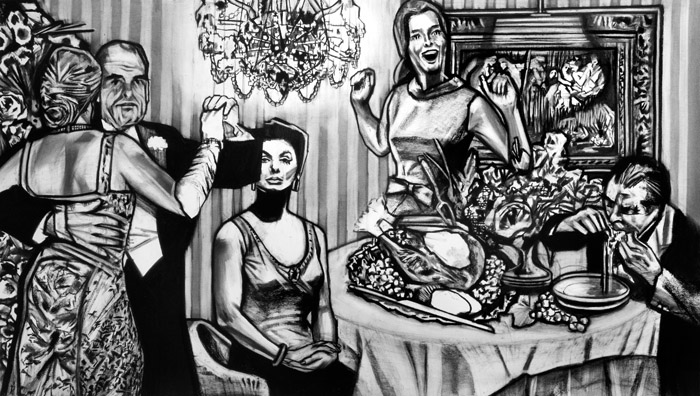 Dinner II Charcoal on Paper 44.6 x 77 inches