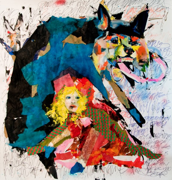 """""""The Wolf in Youth"""" Mixed Media Collage and Oil on Archival paper (50.5""""x51"""")"""