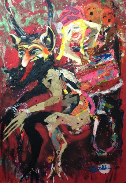 """Krampus"""" Mixed Media collage and oil on panel board (46"""" x 66"""")"""