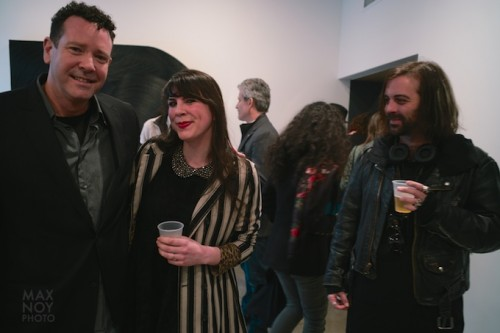 (L) Aritst James Austin Murray with guests at his opening