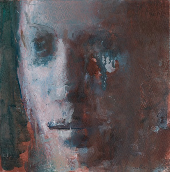 """Face / Sepia & Veridian 7x7"""", oil on paper, 2013"""