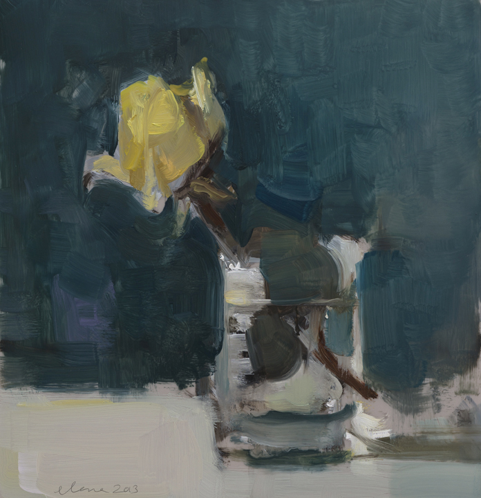 """. In The Dark Place 12x12"""", oil on mylar mounted on panel, 2013"""