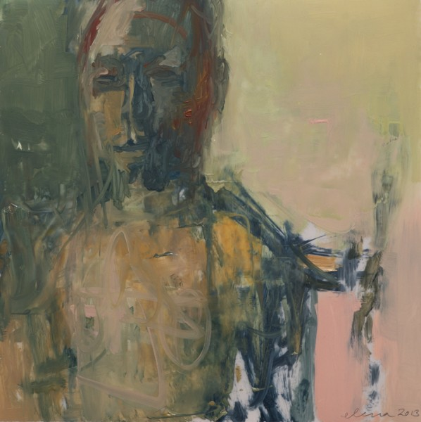 """Untitled / Swimmer 12x12"""", oil on mylar mounted on panel, 2013"""