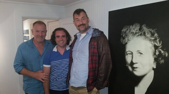 Jack Pierson, Sam Trioli and Bill Arning at the opening of S.  Farm Project Space + Gallery, Wellfleet.  Image courtesy of Tim Donovan