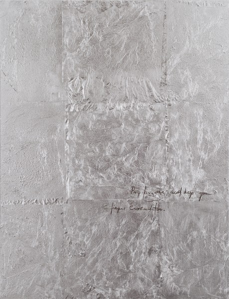 Sam Trioli. Truman Letters II. 2014.  Silver leaf and oil on panel, 16x12 inches, courtesy of the artist