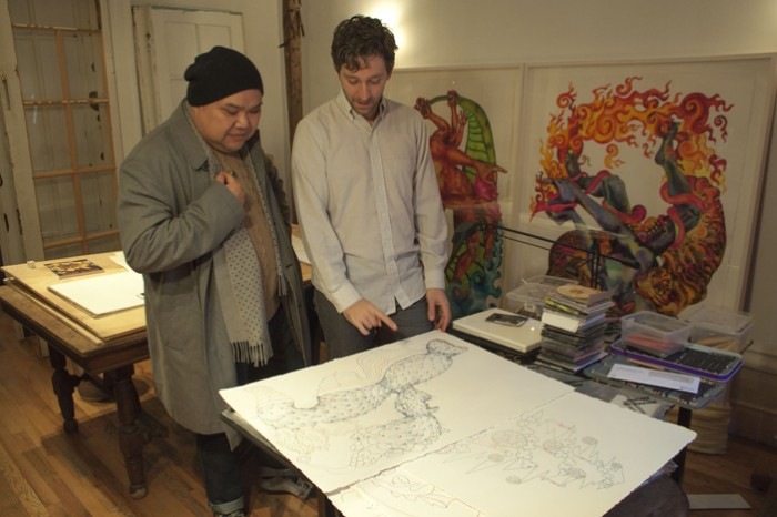 Winter Studio Visit with (L-R) AF Editor in Chief Oscar Laluyan and Artist Brian Reed