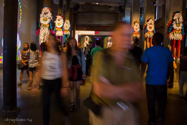 Illuminated Art and shades of people at the festival
