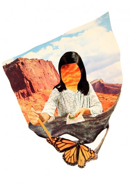 Over the canyon, behind the pain. That's where we'll find out way home by Jay Riggio hand cut collage on vellum paper 11 x 14 inches