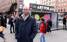 Artist Mario Wagner at the #ArtforAll installation in NYC photo from Edelman