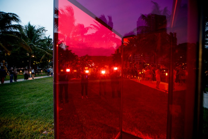 Art Basel in Miami Beach 2014 | Public | Performance: Alix Pearlstein, Work by Sarah Braman, Door, 2013 – 2014 (Mitchell-Innes & Nash). MCH Messe Schweiz (Basel) AG