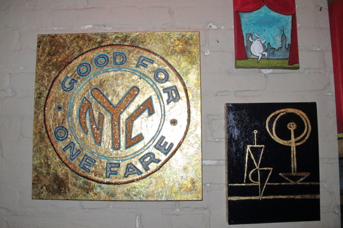 (L-R) Paintings by Paul Zepada and Danielle Mastrion