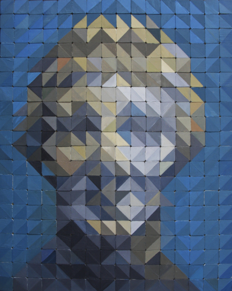 """Apollo by Jamie Martinez,  320 single 1 inch paintings (total size 16"""" x 20"""") Oil on wood blocks"""