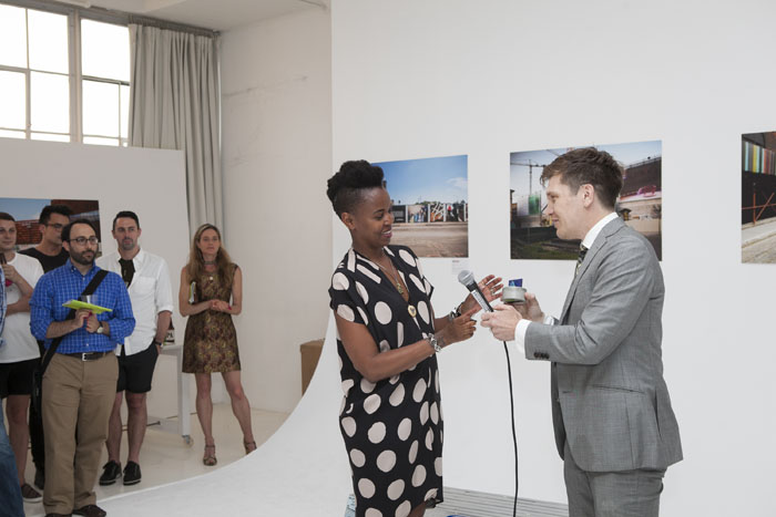 Wangechi Mutu, presented by award by Stephen Pierson (executive director, ArtBridge). Award in the form of a sculpture by artist Esther Ruiz.