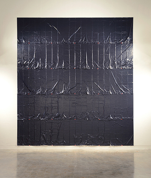 Failed State , 2015 Black plastic garbage bags, hung upside down, static electricity, black pushpins Dimensions variable