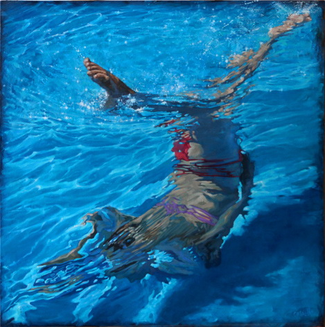 """Angling, oil on canvas, 40"""" x 40"""", 2015"""