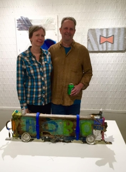 """Jeanne Tremel and Eliot Markell, Box Car Hobo, 2015, Mixed Media on Wood, 10"""" x 29"""" x 3"""""""