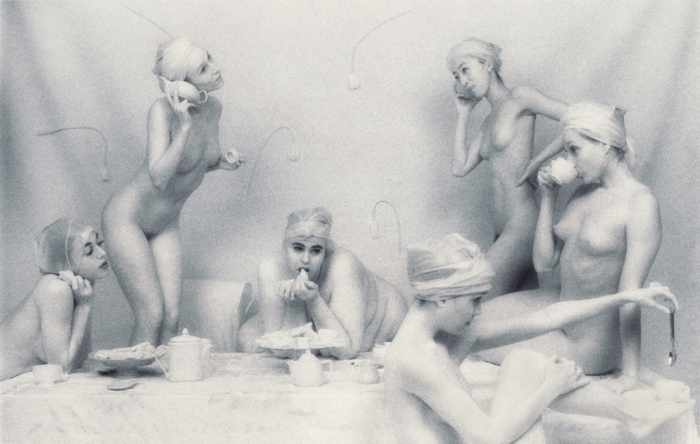 "Lynn Bianchi, Tea Party II (From the Heavy in White Series), 1998, gold-toned silver gelatin print, w:16'' h:20'' and w:20"" h:24"""