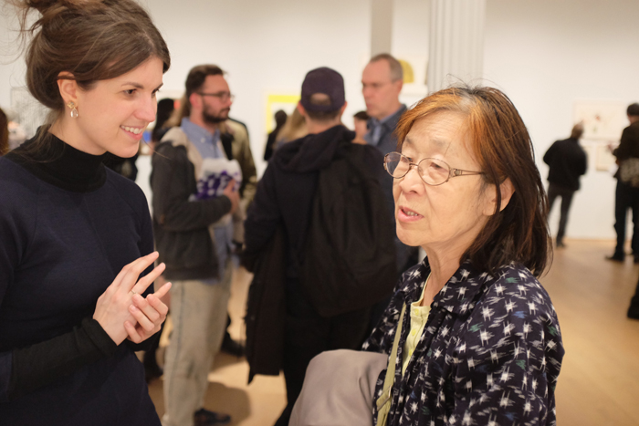 L to R: The Drawing Center's Amber Moyles and artist Kazuko Miyamoto.