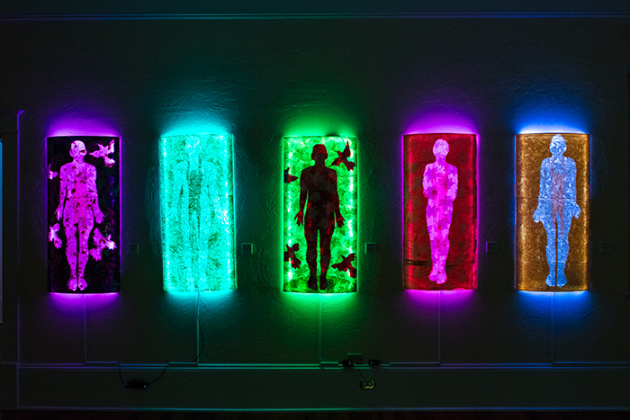 Works by Frank Hyder, mixed media on plexiglass with LEDs, Courtesy Old School Cornell Museum