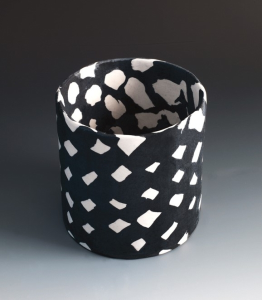 """Small Checked Black & White Cylinder"", 2015. Porcelain 5 1/8"" x 5"" x5"""